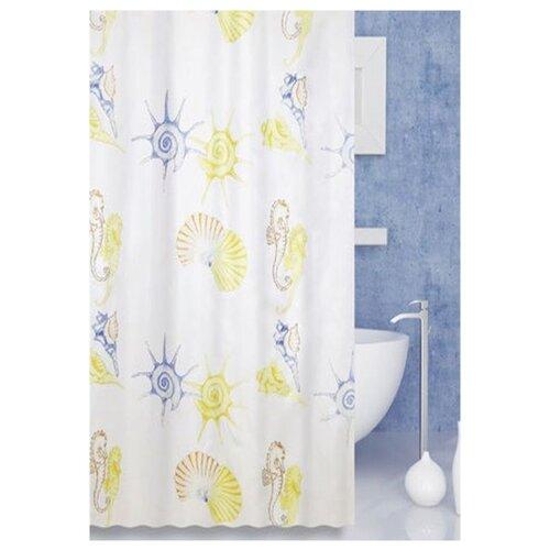 Штора для ванной Bath Plus Scallop 180х200 слоновая кость/желтый штора для ванной joyarty с любовью от котика 180х200 sc 91956