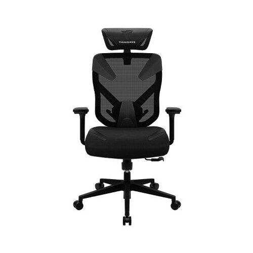 Компьютерное кресло ThunderX3 YAMA3 игровое, обивка: искусственная кожа, цвет: черный кресло компьютерное игровое thunderx3 tgc12 bg черный зеленый 4710700959572