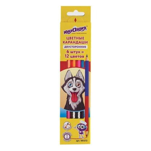 Купить Юнландия Карандаши цветные двухсторонние Гляделки, 6 штук 12 цветов (181372), Цветные карандаши