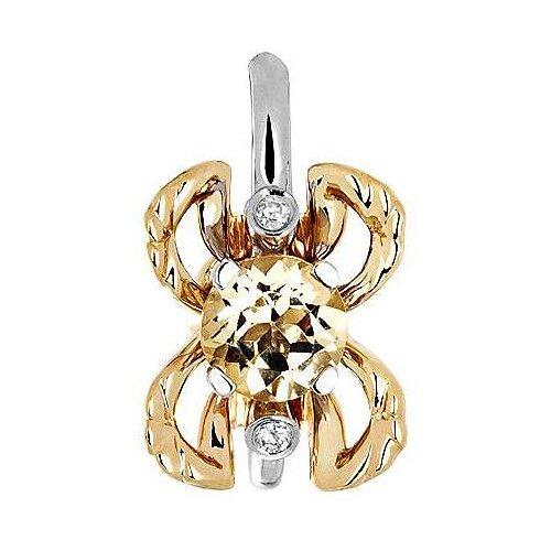 Эстет Подвеска с гелиодором и бриллиантами из комбинированного золота 01П669681Ж-2