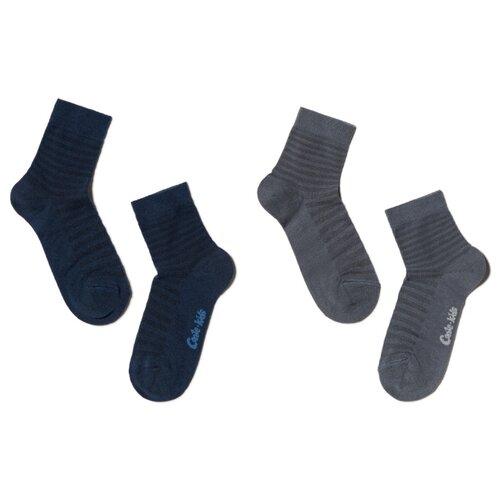 Носки Conte-kids комплект 2 пары размер 16, темно-серый/темно-синий носки conte kids размер 18 412 темно синий