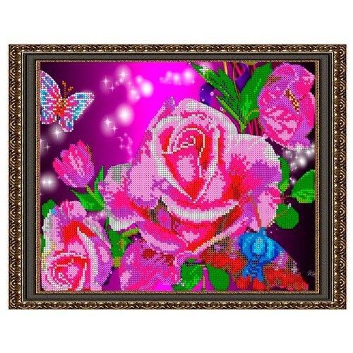 Светлица Набор для вышивания бисером Акварельные розы 30 х 24 см, бисер Чехия (321)