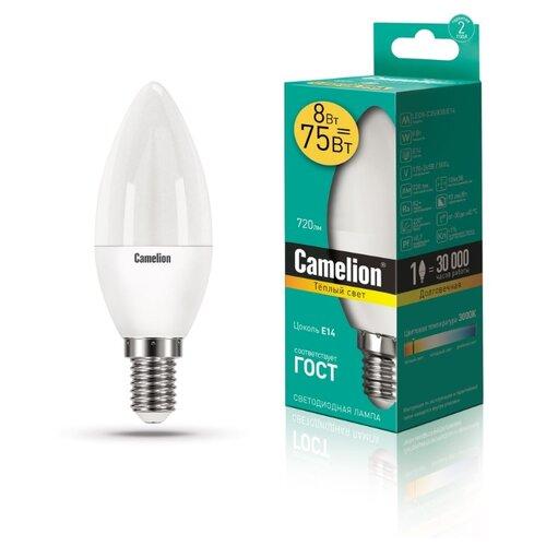 Лампа светодиодная Camelion 12385, E14, C35, 8Вт лампа светодиодная camelion gu5 3 jcdr 8вт