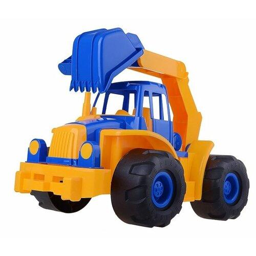 Трактор Нордпласт Богатырь с ковшом (098) 47 см синий/желтый трактор нордпласт богатырь с грейдером 68 см разноцветный 099