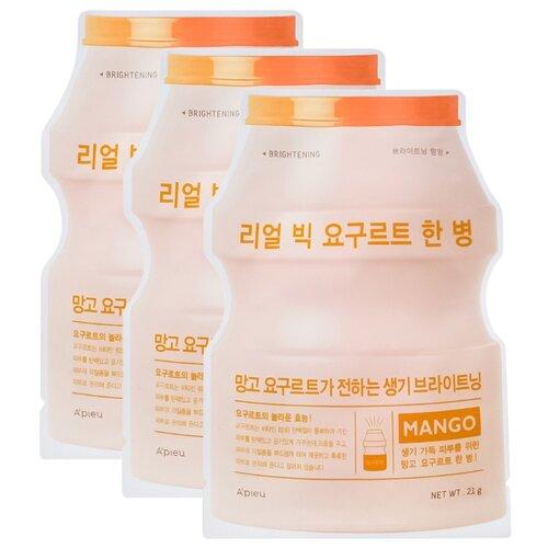 A'PIEU тканевая маска Real Big Yogurt One-Bottle Mango с экстрактом манго, 21 г, 3 шт.