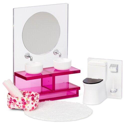 Купить Lundby Набор мебели для ванной комнаты (LB_60306100) белый/розовый, Мебель для кукол