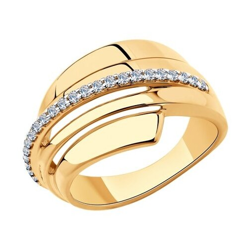 Diamant Кольцо из золочёного серебра с фианитами 93-110-00429-1, размер 19