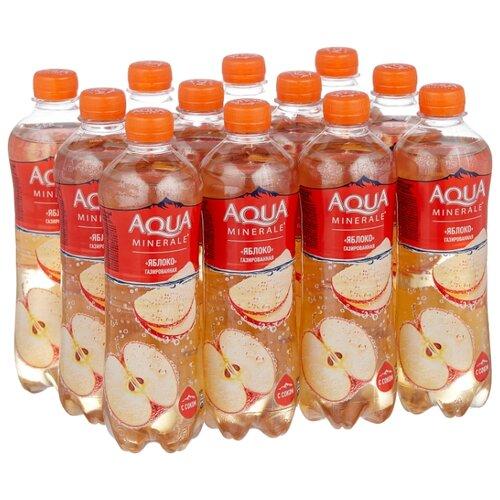 Вода питьевая Аква Минерале газированная с соком Яблоко, ПЭТ, 12 шт. по 0.5 л фото