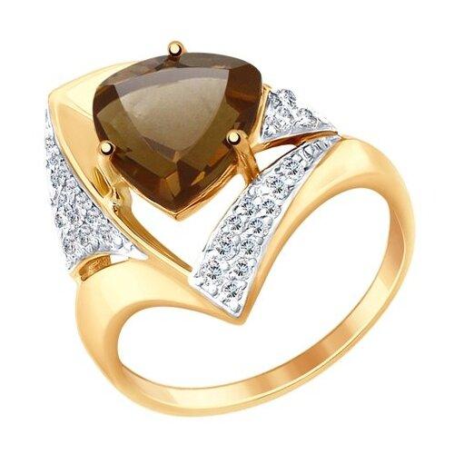 SOKOLOV Кольцо из золота с раухтопазом и фианитами 714948, размер 19 фото