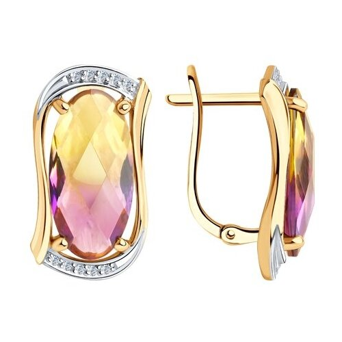 Diamant Серьги из золота с синтетическими ситалами и фианитами 51-320-00791-1