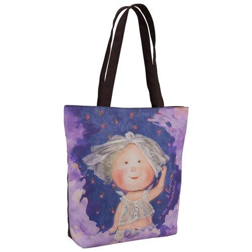 Сумка тоут Kite, текстиль, синий/фиолетовый/коричневый сумка поясная kite время и стекло vis19 2562 текстиль