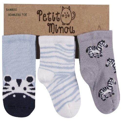 Купить Носки Petit Minou комплект из 3 пар, размер 12-18 мес, голубой/белый/серый