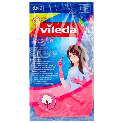 Перчатки Vileda Style, 1 пара, размер L, цвет розовый