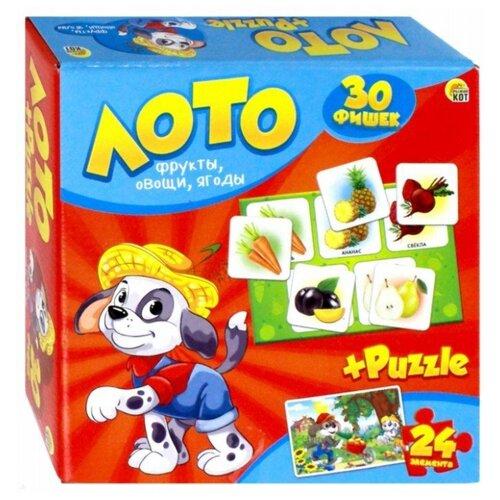 Купить Настольная игра Рыжий кот Лото+пазлы Фрукты, овощи, ягоды ИН-6066, Настольные игры