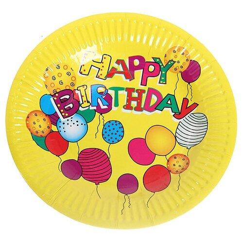 Florento Набор одноразовых тарелок Happy Birthday Шарики, 18 см (10 шт.) желтый набор тарелок одноразовых бумажные antella 18см 8шт