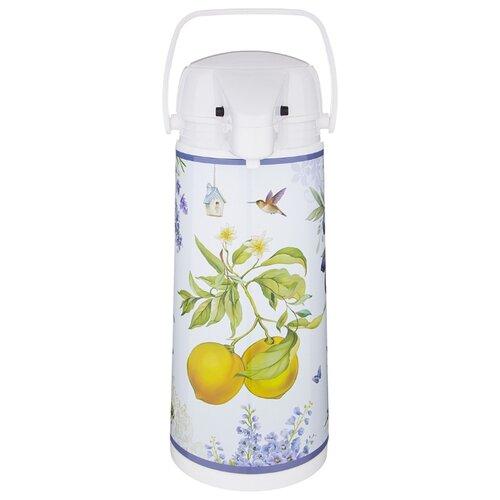 Термос Agness 1.9 л Прованс Лимоны со стеклянной колбой и помпой (910-668)