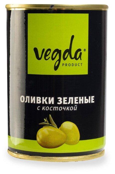 Vegda Оливки зеленые с косточкой, жестяная банка 300 мл