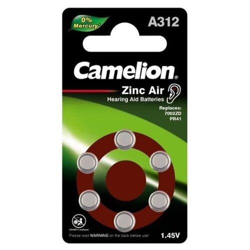 Фото - Батарейка Camelion A312/6BL ZincAir 6 штук батарейки perfeo za312 6bl airozinc premium 6 штук