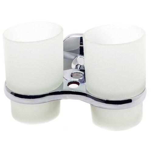 Стакан для зубных щеток Mr. Penguin Квадрат KL-1607 серебристый/белый