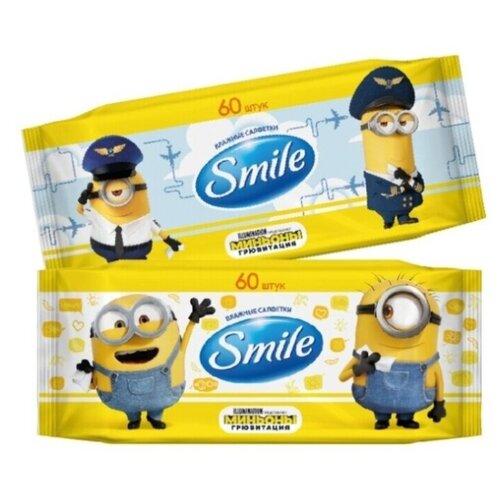 Влажные салфетки Smile Миньоны, 60 шт., 2 уп.