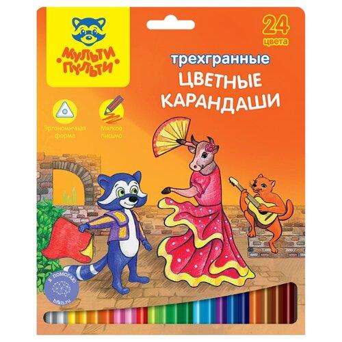 Купить Мульти-Пульти Карандаши цветные Енот в Испании 24 цвета (CP_10758), Цветные карандаши