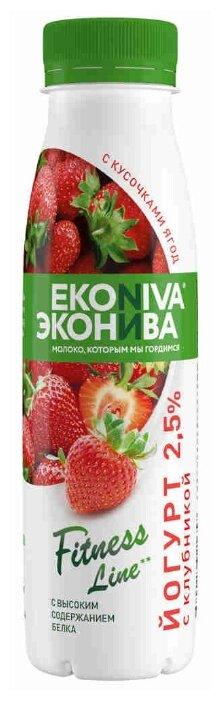 Питьевой йогурт ЭкоНива Fitness Line с клубникой 2.5%, 300 г — купить по выгодной цене на Яндекс.Маркете в Москве