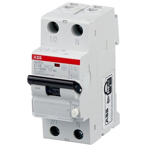 Дифференциальный автомат ABB DS201 L 2П 30 мА C 16 А автомат abb 2cds213001r0204