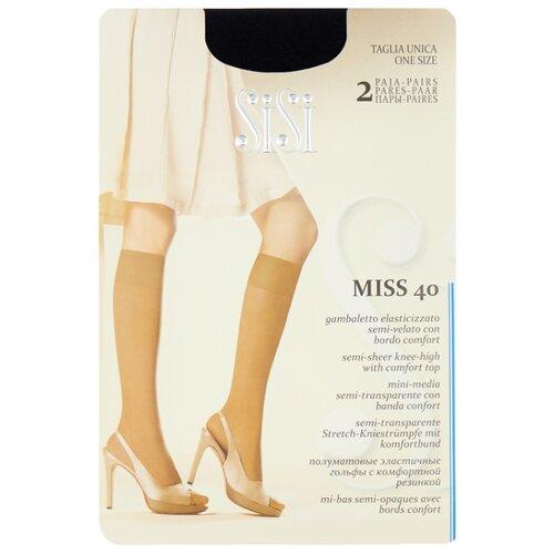 Капроновые гольфы Sisi Miss 40 den New, 2 пары, размер 0 ( one size), nero