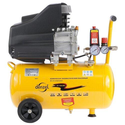 Компрессор масляный Denzel OC 1/24-206, 24 л, 1.5 кВт компрессор масляный denzel oc 1 24 206 24 л 1 5 квт
