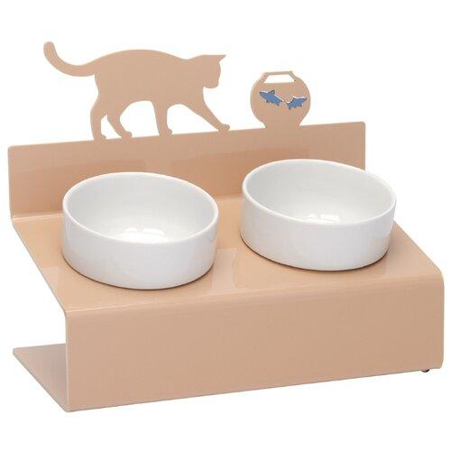 Миска АртМиска для животных двойная Кот и рыбы на подставке XS 360 мл кремовый
