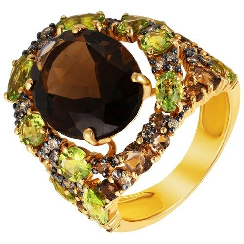 Фото - JV Кольцо из золота 585 пробы с бриллиантами, раухтопазами и перидотами RG-32290A-KO-DN-PD-SQ-YG, размер 18 кольцо с раухтопазами перидотами и бриллиантами из жёлтого золота