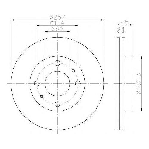 Тормозной диск передний Valeo R1026 257x24 для Hyundai Elantra, Hyundai Matrix hyundai matrix фото