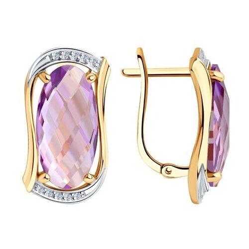 Diamant Серьги из золота с аметистами и фианитами 51-320-00791-2