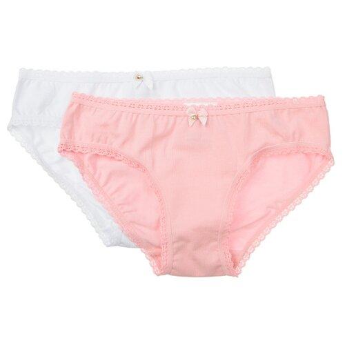Трусики playToday 2 шт., размер 110-116, белый/розовый трусики лунокот размер 116 бледно розовый