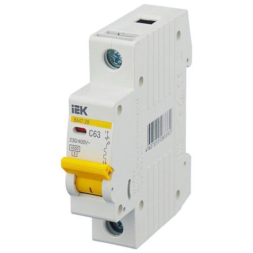 Автоматический выключатель IEK ВА 47-29 1P (C) 4,5kA 63 А автомат iek 3п c 40а ва 47 100