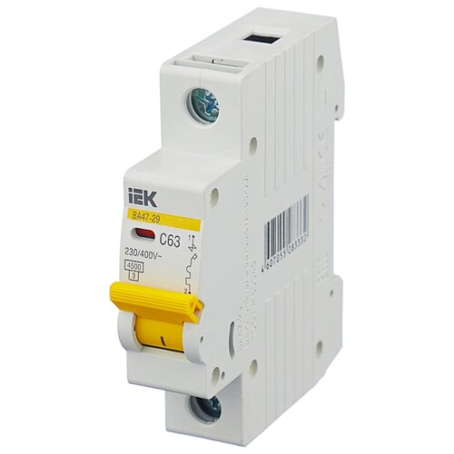 Автоматический выключатель IEK ВА 47-29 1P (C) 4,5kA 63 А выключатель автоматический однополюсный 6а c 4 5ka ва 47 63 ekf proxima