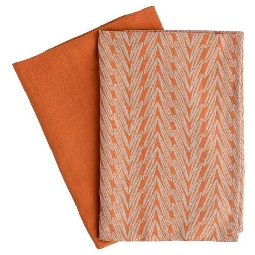 TKANO Набор полотенец Колосья кухонное белый/оранжевый