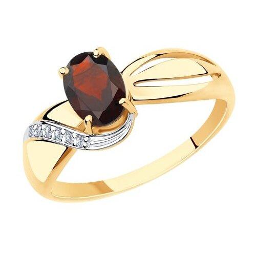 Diamant Кольцо из золота с гранатом и фианитами 51-310-00347-2, размер 17 diamant кольцо из золота с гранатом 51 310 00182 2 размер 17