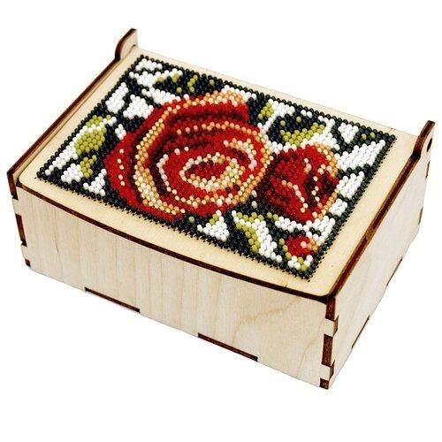 Астра Деревянная заготовка шкатулка для вышивания бисером Розы на снегу 12 х 8 х 5 см (L-701)Наборы для вышивания<br>