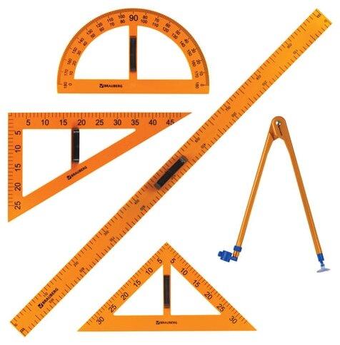 Набор чертежный BRAUBERG для классной доски: 2 треугольника, транспортир, циркуль, линейка 100 см