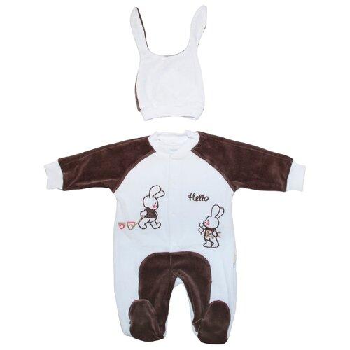 Купить Комплект одежды Клякса размер 22-74, белый/коричневый, Комплекты