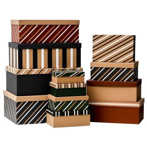 Фото - Набор подарочных коробок Дарите счастье Полоски, 12 шт. черный/белый/бежевый набор подарочных коробок дарите счастье универсальный 10 шт бежевый белый черный