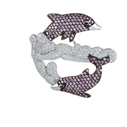 ELEMENT47 Брошь-подвеска из серебра 925 пробы с фианитами PB110061B_BRP_001_WG