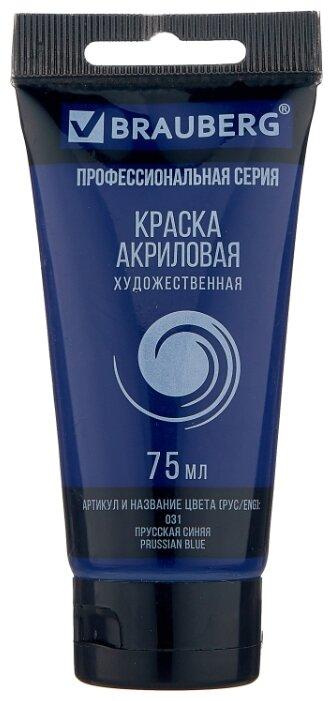 Купить BRAUBERG Краска акриловая художественная Профессиональная серия 75 мл прусская синяя по низкой цене с доставкой из Яндекс.Маркета (бывший Беру)