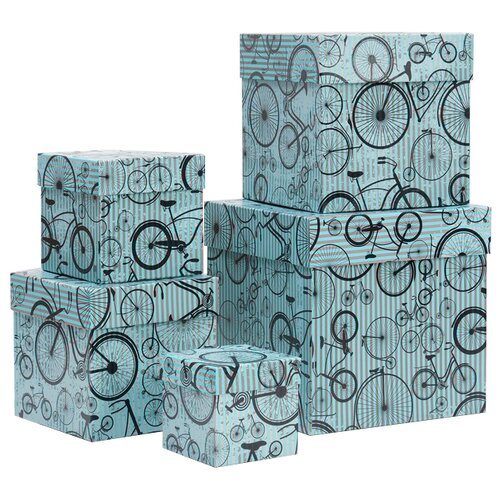 Набор подарочных коробок Мишель Фокс Моноциклы №2, 5 шт салатовый