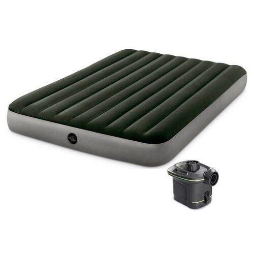 Фото - Надувной матрас Intex Prestige Downy Bed Dura-Beam (64779) зеленый надувной матрас intex twin dura beam prestige downy airbed 64107 серый черный