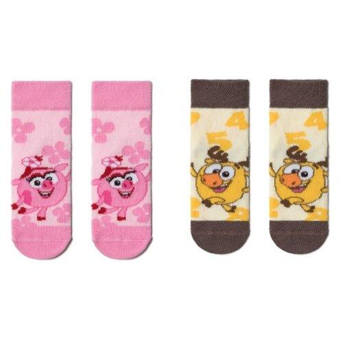 Носки Брестские Смешарики комплект из 2 пар, размер 11-12, розовый/желтый