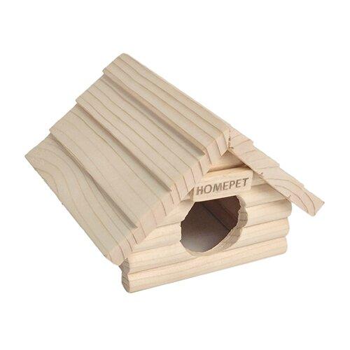Домик для мелких грызунов HOMEPET 13 см х 13,5 см х 10 см, деревянный. игрушка для грызунов дарэлл кубик малый деревянный 10 х 10 х 11 5 см 1 шт