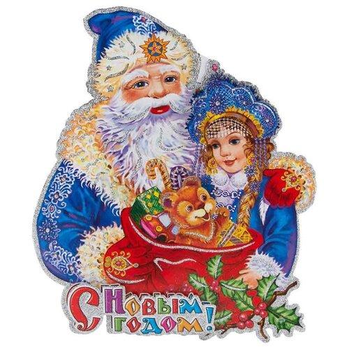 Наклейка интерьерная Волшебная страна Дед мороз и снегурочка 35 х 40 см, синий/белый/красный волшебная страна световое панно дед мороз на упряжке 20 ламп 44 5х24 см волшебная страна