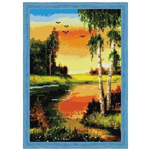 Купить Алмазная вышивка Березы на закате у реки, Цветной, Алмазная мозаика